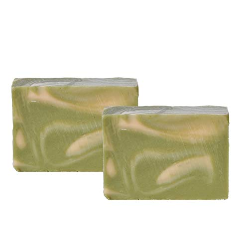Mijo 2x GREEN WAVE Zitronengras Seife Lemongrass handgemachte Naturseife mit Bio Olivenöl, ohne Palmöl ca. 100g/St
