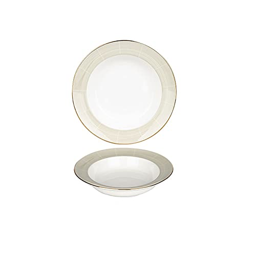 plate Pocelain Dinner Plates Gold Rim Hat Shape Serving Plates for Pasta Appetizer Plates Microwave Oven and Dishwasher Safe Household Soup Plate(9.81inch) Dinner plate (Size : 7.87INCH)