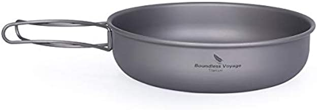 Boundless Voyage Titanium Frying Pan with Folding Handle Ultra-Light for Camping Picnic Skillet Griddle Tableware Cookware Ti15144B