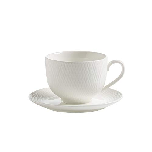 Maxwell y Williams Basics Diamantes Taza de té y platillo, Blanco, 220 ml, Juego de 4