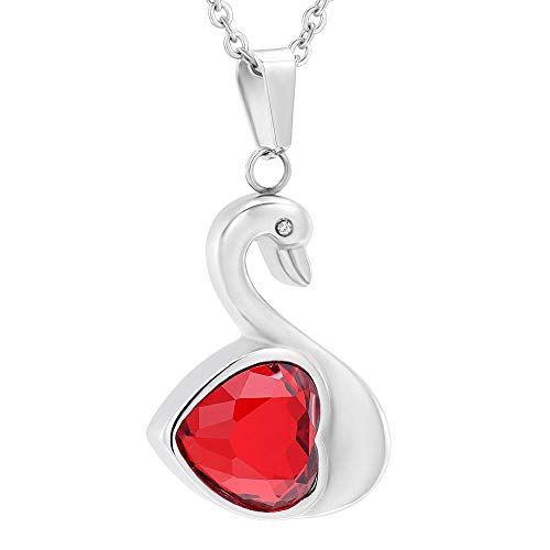 FVNR Ashes Keepsake Hanger Ketting RVS Crystal Swan Memorial Urn Ashes Urn Crematie Sieraden-Red_Stone_Pendant_with_Chain