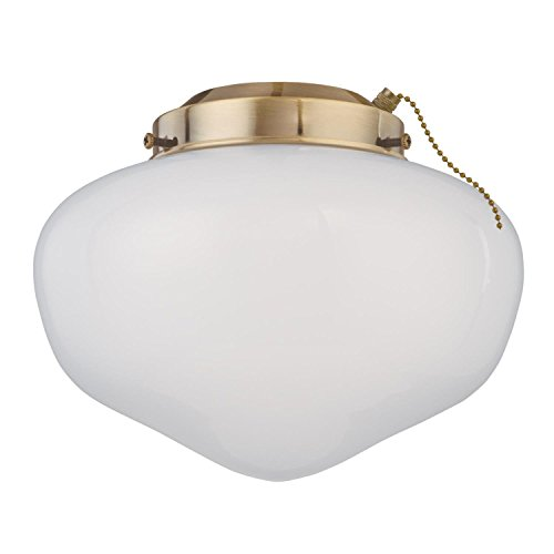Westinghouse Lighting 7784400 LED Schoolhouse Indoor/Outdoor Energy Star Ceiling Fan Light Kit, Polished Brass Finish with White Opal Glass