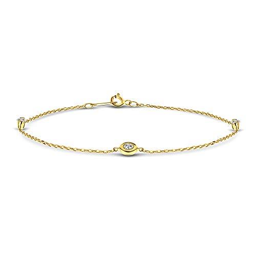Miore Diamant Armband Damen Ankerkette mit Anhängern Diamanten 0.15 Ct Gelbgold 9 Karat / 375 Gold, Länge 18 cm Schmuck