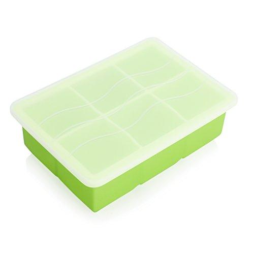 GVDV groß Eiswürfelform Gefrierbehälter aus Nahrungsmittelgrad-Silikon mit Deckel zum Aufbewahren und Einfrieren (6 Würfel Grün)