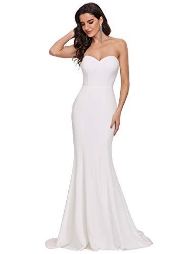 Ever-Pretty Vestido de Novia de Boda sin Tirantes Largo para Mujer Sirena...