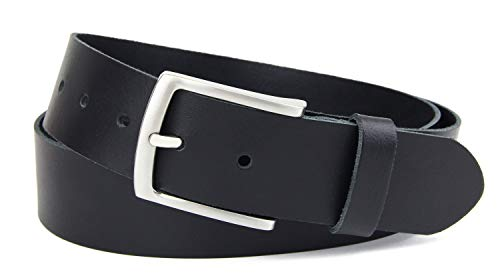 Frentree Damen Leder Gürtel, 3.8 cm breit und 0.25 cm stark, Schwarz, Gr.- 90cm (für Hüftumfang 85-95 cm)
