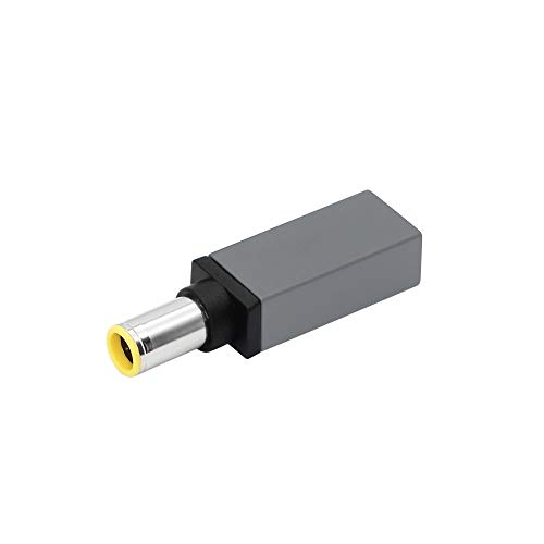 CERRXIAN 100W PD USB Type C Female Input to DC 7.9mm x 5.5mm Power Charging Adapter for Lenovo Thinkpad T60 T61 T400 T410 T420 T430 T500 T510 T520 T530 X60 Z60 X200 X201 X220(100w-7955a) (Silver grey)