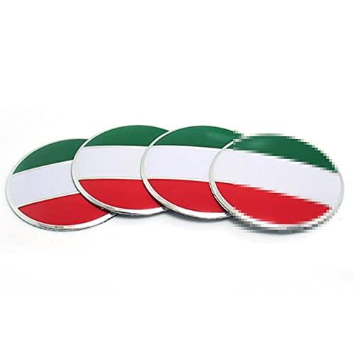 4 unids/set 56mm Italia Bandera Aleación Coche Centro de ruedas Caps Pegatina Emblema Compatible con Ferrari Maserati Alfa Romeo Fiat