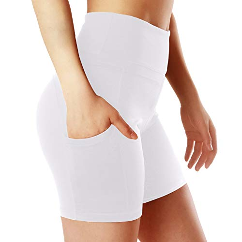 ChinFun Yoga Shorts for Women High Waist Tummy Control 4 Way Stretch Workout Running Shorts Side Pockets White Size L