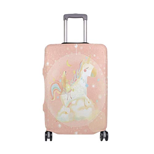 Travel Lage Cover Pink Romantic Fresh Little Girl Unicorn Suitcase Protector Fits 26-28 Inch Washable Baggage Covers