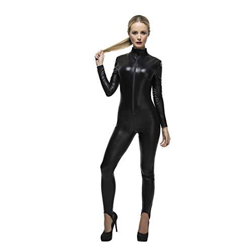 NET TOYS Hautenger Ganzkörper-Overall in Lack-Optik - Schwarz S (34/36) - Eng anliegender Damen-Jumpsuit Catwoman - EIN Blickfang für Maskenball & Halloween