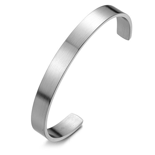 COOLSTEELANDBEYOND Minimalist Stainless Steel Bangle Cuff Bracelet for Men for Women Silver Color Satin