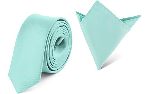 Ladeheid Set Cravatta Slim e Fazzoletto Taschino Uomo SP/P (150cm x 5cm, 22cm x 22cm, Menta)