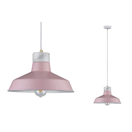 Paulmann 79610 Neordic Disa Pendelleuchte max. 1x20W Hängelampe für E27 Lampen Deckenlampe Rosa/Weiß matt 230V Metall/Marmor ohne Leuchtmittel, Gold