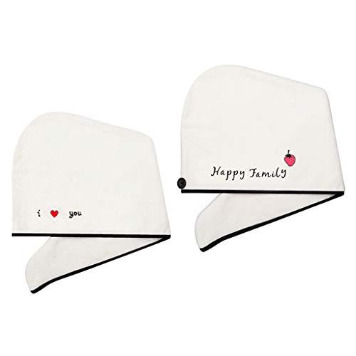perfeclan 2X Toalla de Pelo de Lana de Coral Súper Absorbente Wrap Secado de Cabello Baño Sombrero de Pelo