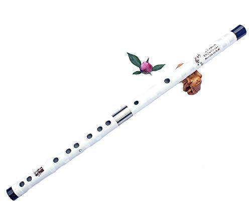 ジ-ライク ()G-様女竹笛古風横笛プロフルート演奏楽器C調からG調まで選択可能児童大人初心者(D調62センチメートル、ホワイト)