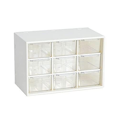 Organizador de escritorio de 6/9 cuadrículas, organizador de maquillaje, contenedor de almacenamiento, organizador de escritorio, caja transparente de plástico (color: 9 cuadrículas)