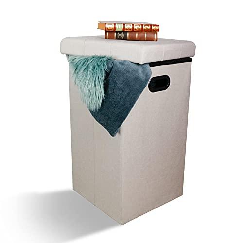 LIVONDO Taburete con espacio de almacenamiento Maxi I Taburete plegable con tapa...