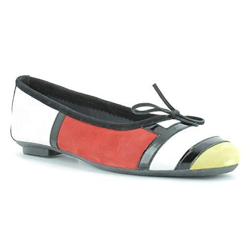 Reqins, chaussures femme, Reqins Hondriane Mix PeauTT 05737-8D, Blanc/Jaune, 40