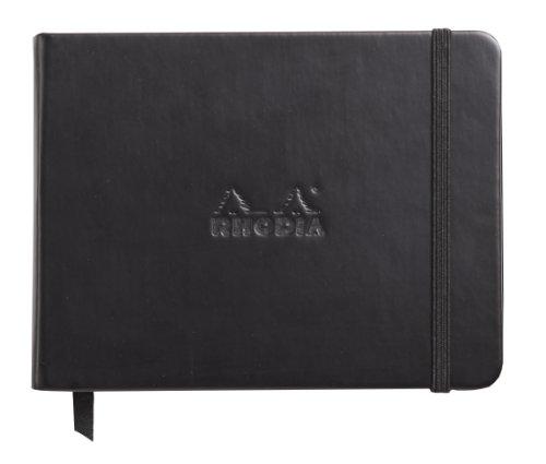 Rhodia 118039C – Webnotebook format poprzeczny, 14 x 11 cm, 96 arkuszy, w linie Clairefontaine papier kość słoniowa 90 g, zakładka, zamknięcie z gumką ze sztucznej skóry, czarny, 1 sztuka