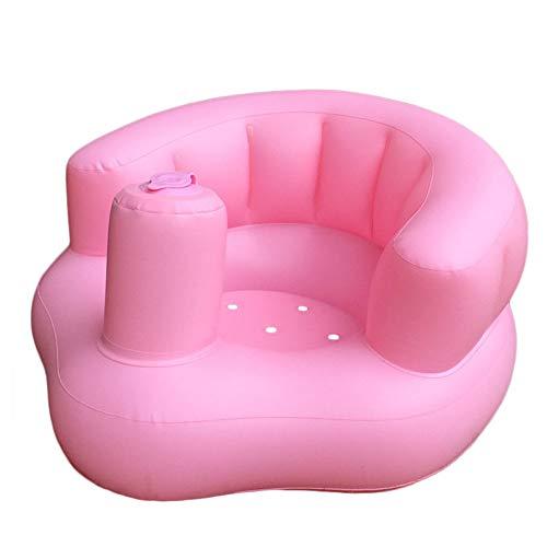 Jualyue Silla Inflable del Bebé Bañera para Bebé Silla Portátil del Bebé Lindo para Jugar Bañándose Piso Playa Piscina Rosa