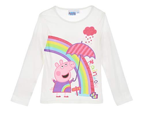 Peppa-Wutz Peppa Pig Mädchen Langarmshirt (Weiss 2, 98)
