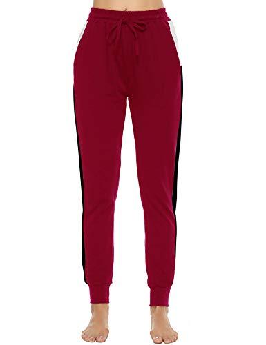 Akalnny Pantalones Deportivos para Mujer Pantalón de Chándal Largos Pantalones de Deporte con Cordones de Rayas para Gimnasio Yoga Jogging