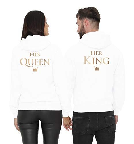 Cold & Heartless Pärchen Pullover Set King & Queen in Gold (Damen XXL + Herren XL, Weiß)