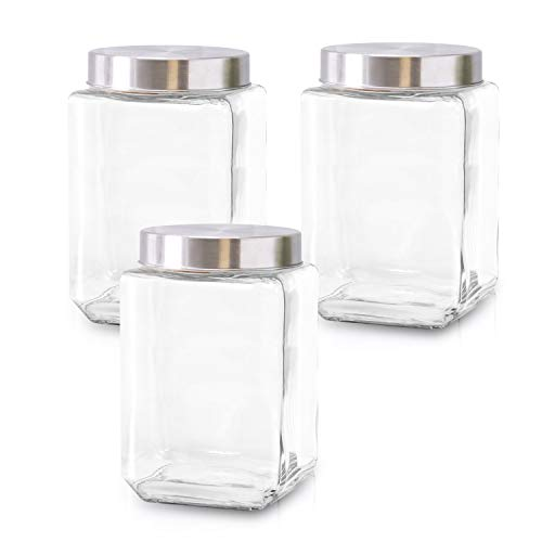 Glass Containers for Kitchen – Set of 3 Food Storage Containers – Storage Jars with Stainless Steel Lids – Suitable for Cookies, Snacks, Coffee – Airtight Screw-on Lid – 57oz Capacity