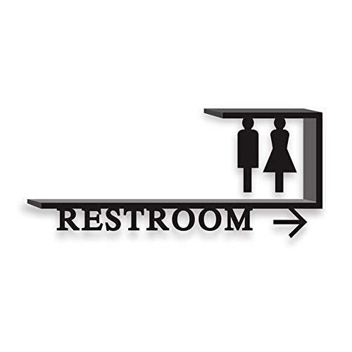LXJ creatieve huisnummer, wandplaat, dubbelzijdige, decoratieve adreshouder, links en rechts teken van het openbaar toilet, mannen en vrouwen, toiletteken, creatief toiletteken, Sch