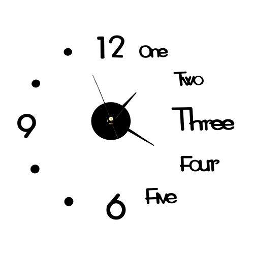 WJUAN Reloj Pared Adhesivo Negro, Reloj Silencioso Sin Marco, Pegatina de Reloj, Reloj de Pared 3D se Puede Utilizar en la Cocina, Sala de Estar, Oficina de Baño Decoraciones