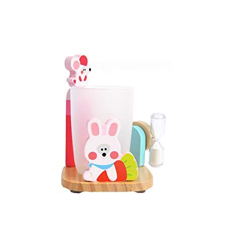 TrifyCore 500 Stück Entzückende Zahnpasta Zahnbürstenhalter Stand mit Cup und 3 Minuten Sandborduhr Saugfuß aus Holz Badezimmer Aufsatz- Halter für Kinder Multicolor-Kaninchen-Art