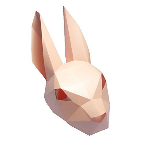 Máscara De Papel 3D Moda Conejo Conejo Animal Cosplay Traje De Papel Del Arte De DIY...