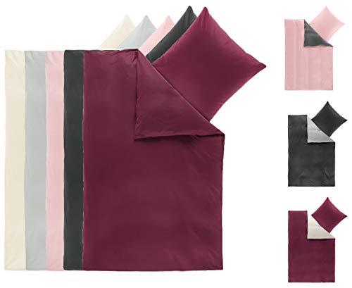 BaSaTex Winter Flausch Uni Wende Bettwäsche Bett Garnitur 2-teiliges Set|155x220 cm + 80x80 cm |100% Microfaser Fleece Thermofleece | Anthrazit Bordeaux