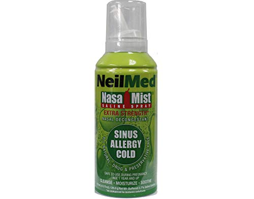 NeilMed Extra Strength NasaMist Saline Nasal Spray Drug Free Nasal Decongestant 4.2 fl oz, (Pack of 2)