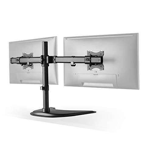 RICOO TS8211, Dual Monitor Tisch-Halterung, 2 Monitore, Schwenkbar, Neigbar 13-27 Zoll (33-69cm), Bildschirm-Ständer, Stand-Fuß, VESA 100x100, Schwarz