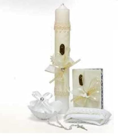Christening Baptism Candle Set English for Girl, Boy Cross Ivory Silver : Candle, Prayer Booklet, Dry Cloth, Sea Shell, and Rosary –Bautizo Religious Gift