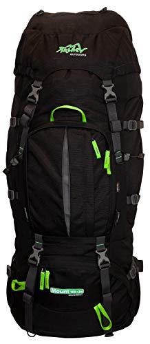 Tashev Outdoors Mount Trekkingrucksack Wanderrucksack Damen Herren Backpacker Rucksack groß 100l Plus 20l mit Regenschutz Schwarz & Grün (Hergestellt in EU)