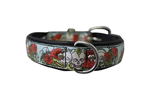 Angel's Inked Collection, Skull and Rose Leather Dog Collar, 18' x 3/4', Tattoo Dog Collar, Perfect for Most French Bulldogs, Pugs