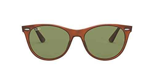 Ray-Ban Wayfarer II Gafas de lectura, Helles Havana Auf Transparentem Gelb/Flaschengrün, 55 MM Unisex Adulto