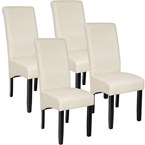 TecTake 4er Set Luxus Esszimmerstuhl Kunstleder Stuhl mit hoher Rückenlehne, ergonomische Form, Stuhlbeine aus Hartholz massiv, 106 cm hoch - Diverse Farben - (Creme | Nr. 403498)