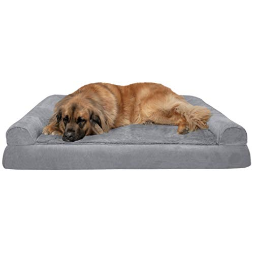 Furhaven Pet Dog Bed - Orthopedic Ultra Plush Faux Fur and Suede Traditional Sofa-Style Living Room Couch Pet Bed with Removable Cover for Dogs and Cats, Gray, Jumbo Plus