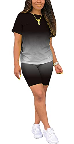 Women's 2 Pieces Summer Casual Solid Color Short Sleeve T-Shirt Sports Shorts Yoga Clothes Sportswear Workout (Black M)