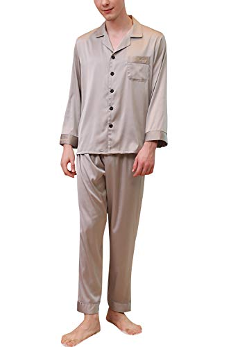 YAOMEI Pijamas para Hombre Satén Largo, 2019 Hombre Parejas