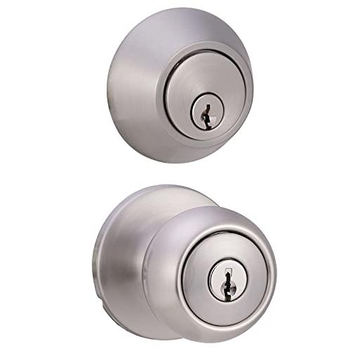 Amazon Basics Exterior Door Knob With Lock and Deadbolt, Coastal, Satin Nickel