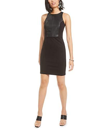 Bar III - Mini abito da cocktail da donna, in ecopelle, senza maniche, girocollo, taglia L