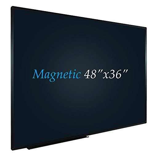 JILoffice Magnetic Black Chalkboard/Black Board 48 x 36 Inch, Black Aluminum Frame Board with Marker Tray for Office Home and School