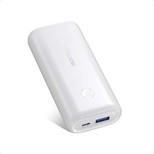 Mini Powerbank, POWERADD EnergyCell 10000mAh USB Power Bank Kompakter Externer Akku Leichtes Tragbares Ladegerät für Handy, iPhone iPad Samsung Galaxy Huawei und Andere Smartphones-Weiß