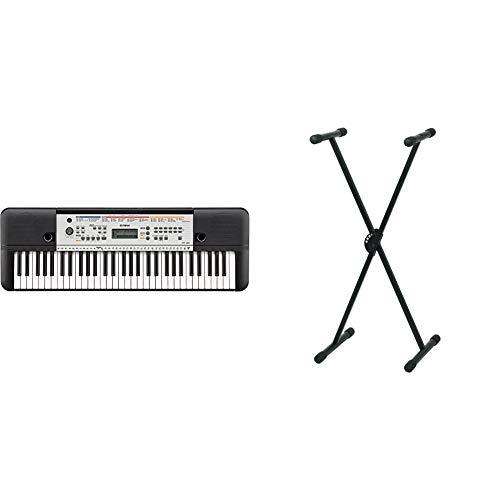Yamaha YPT-260Teclado digital portátil para principiantes, 61 teclas y una amplia variedad de funciones y sonidos, color negro + Pure GEWA F900520Soporte de teclado, patas perfil simple,negro
