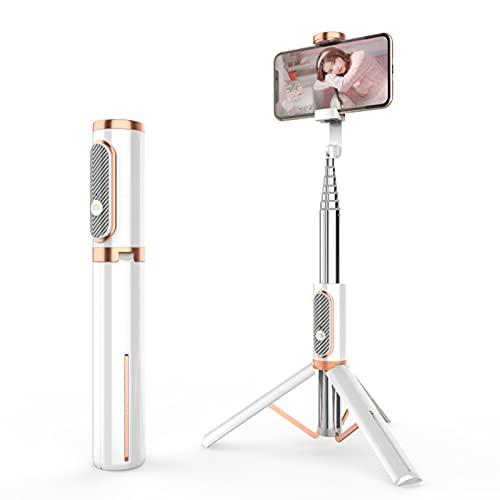 LXLTL Selfie Stick Trípode, extensible 3 en 1 de acero inoxidable Bluetooth Selfie Stick con mando a distancia inalámbrico de rotación de 360°, compatible con iPhone y teléfonos Android, color blanco